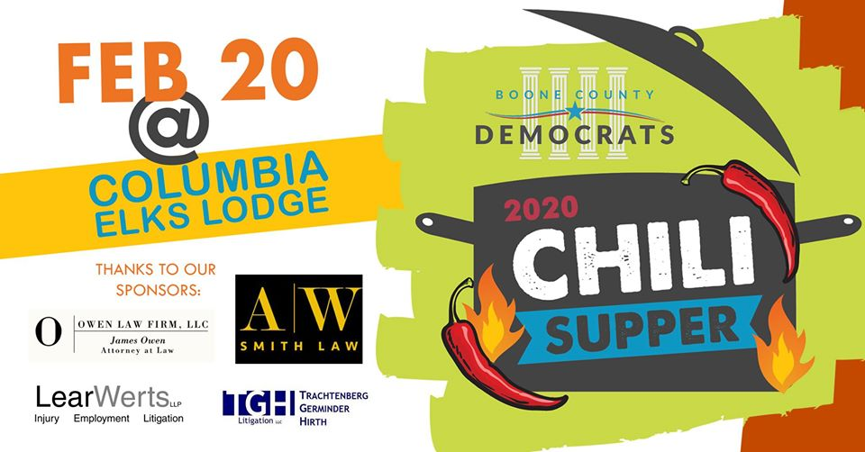 Boone County Democrats Annual Chili Supper & Fundraiser - Thursday 2.20.2020 - Elks Lodge - 5:30-8:30pm @ Columbia Elks Lodge | Columbia | Missouri | United States