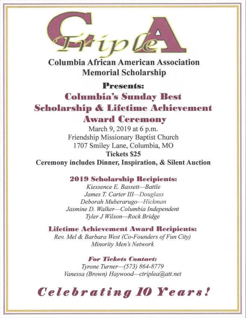 CAAA Presents: Columbia's Sunday Best 2019 Fundraiser & Scholarship Dinner - Saturday 3.9.2019 - 6pm @ Friendship Missionary Baptist Church   Columbia   Missouri   United States