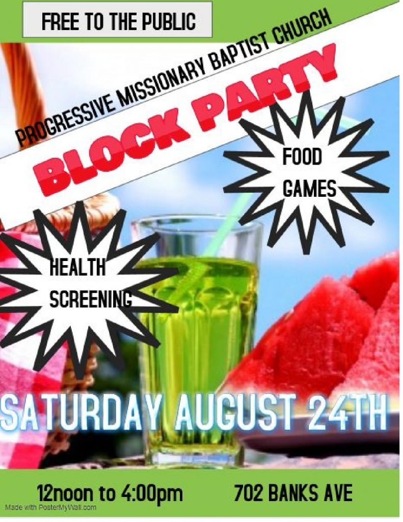 Commnunity Block Party FREE Event - Saturday, 8.24.2019 - Progressive Baptist Church - 12 Noon-4pm @ Progressive Missionary Baptist Church | Columbia | Missouri | United States