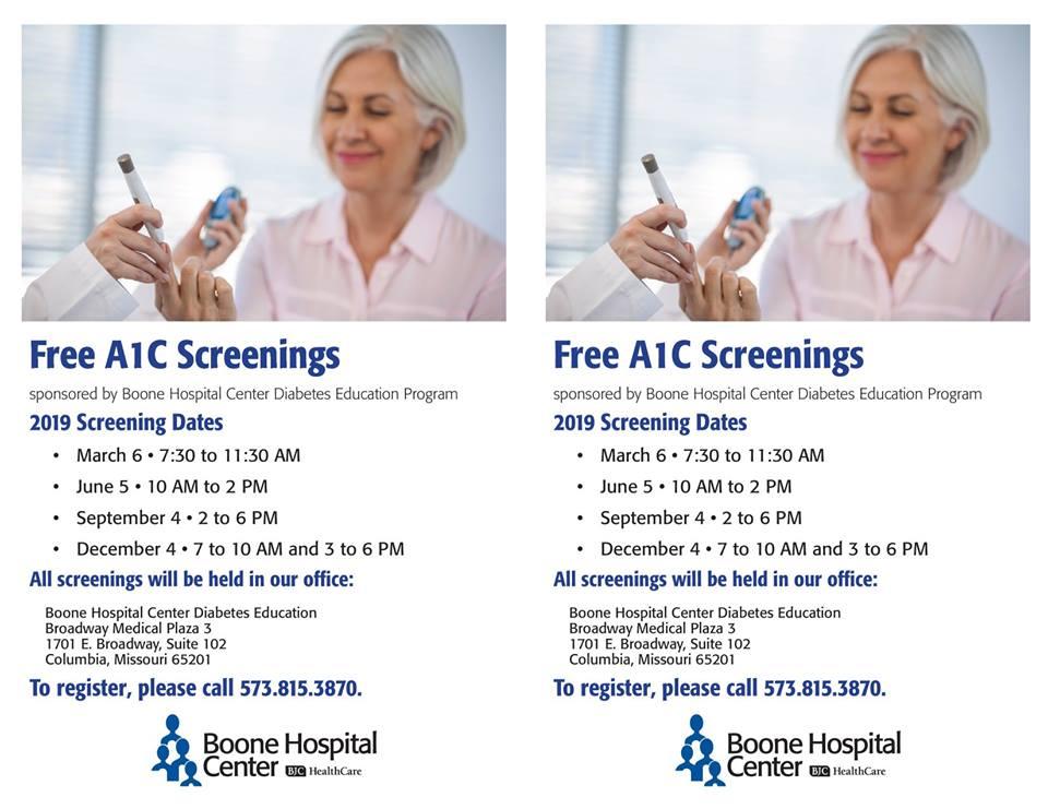 FREE Diabetes A1C Blood Glucose Testing - Wednesday 3.6.2019 - Boone Hospital Center Diabetes Education - 7:30-11:30am @ Broadway Medical Plaza 3, Suite 102   Columbia   Missouri   United States