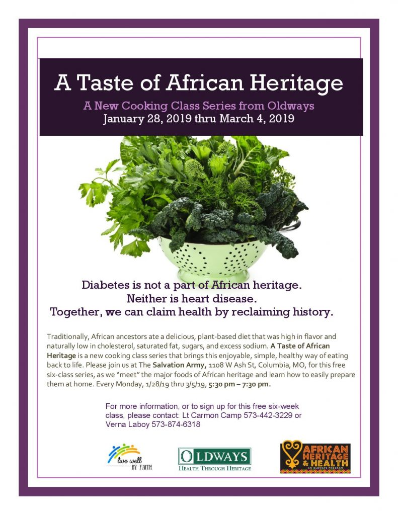 """Cooking Class Series: """"A Taste of African Heritage"""" - Starting Monday 1.28.2019 - The Salvation Army - 5:30-7:30pm @ The Salvation Army   Columbia   Missouri   United States"""
