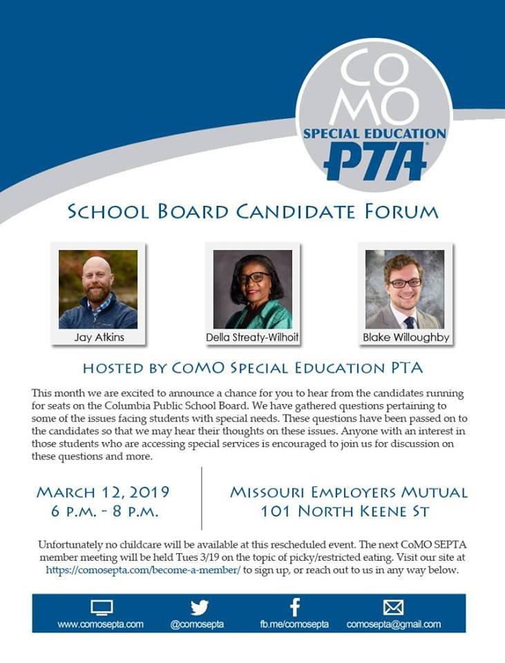 CoMO SEPTA School Board Candidate Forum - Tuesday 3.12.2019 - Missouri Employers Mutual - 6-8pm @ Missouri Employers Mutual   Columbia   Missouri   United States