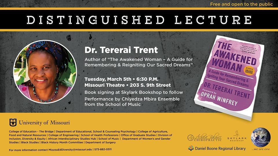 Distinguished Lecture with Dr. Tererai Trent - TONIGHT, Tuesday 3.5.2019 - Missouri Theatre - 6:30pm @ Missouri Theatre   Columbia   Missouri   United States