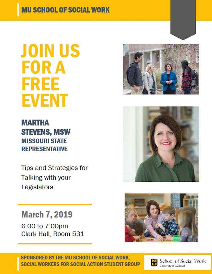 """Tips and Strategies for Talking with Your Legislators"", Presented by Martha Stevens - Thursday 3.7.2019 - MU Clark Hall - 6-7pm @ MU Clark Hall, Rm 531   Columbia   Missouri   United States"