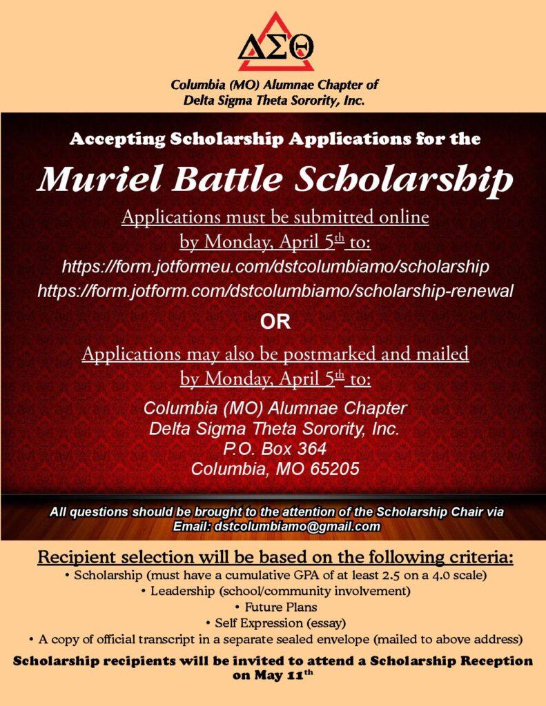 Deadline Monday 4.5.2019 to Apply for the Muriel Battle Scholarship (Delta Sigma Theta)