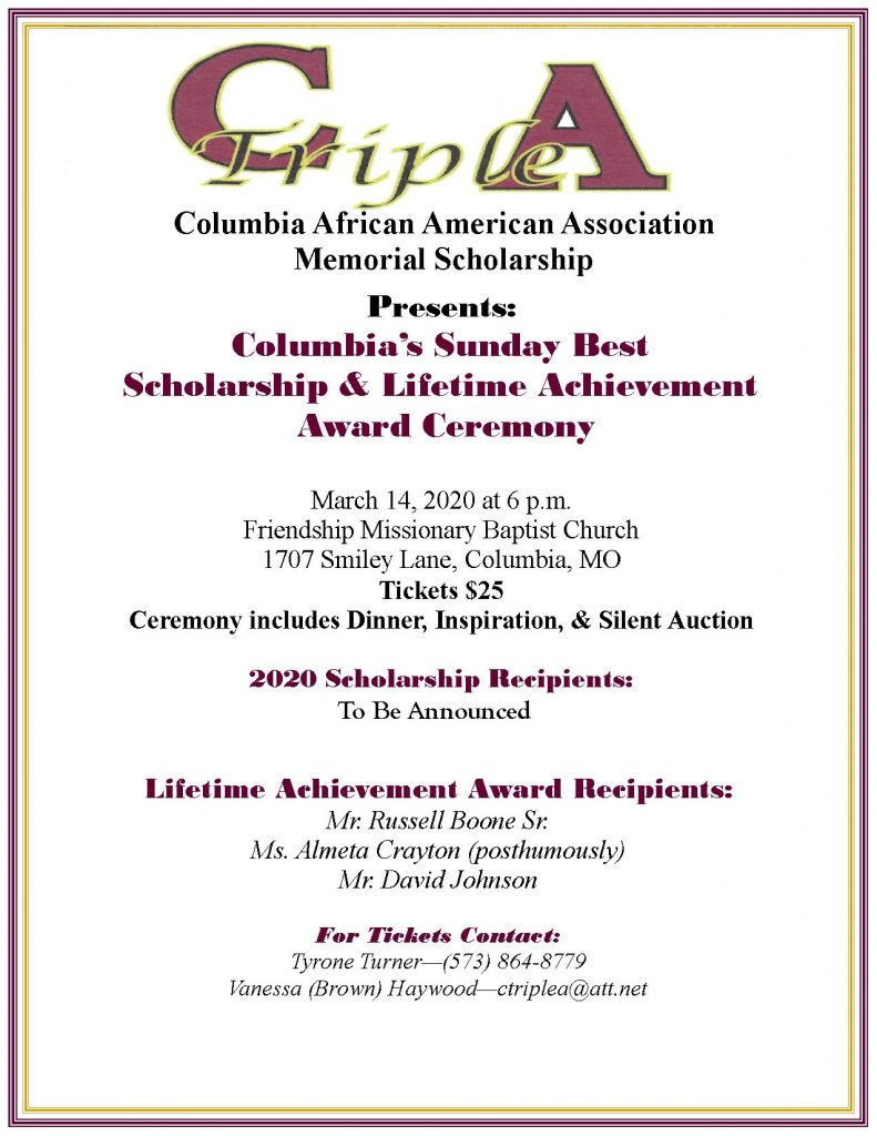 CAAA Presents: Columbia's Sunday Best 2020 Scholarship and Award Ceremony - Saturday 3.14.2020 - 6pm @ Friendship Missionary Baptist Church | Columbia | Missouri | United States