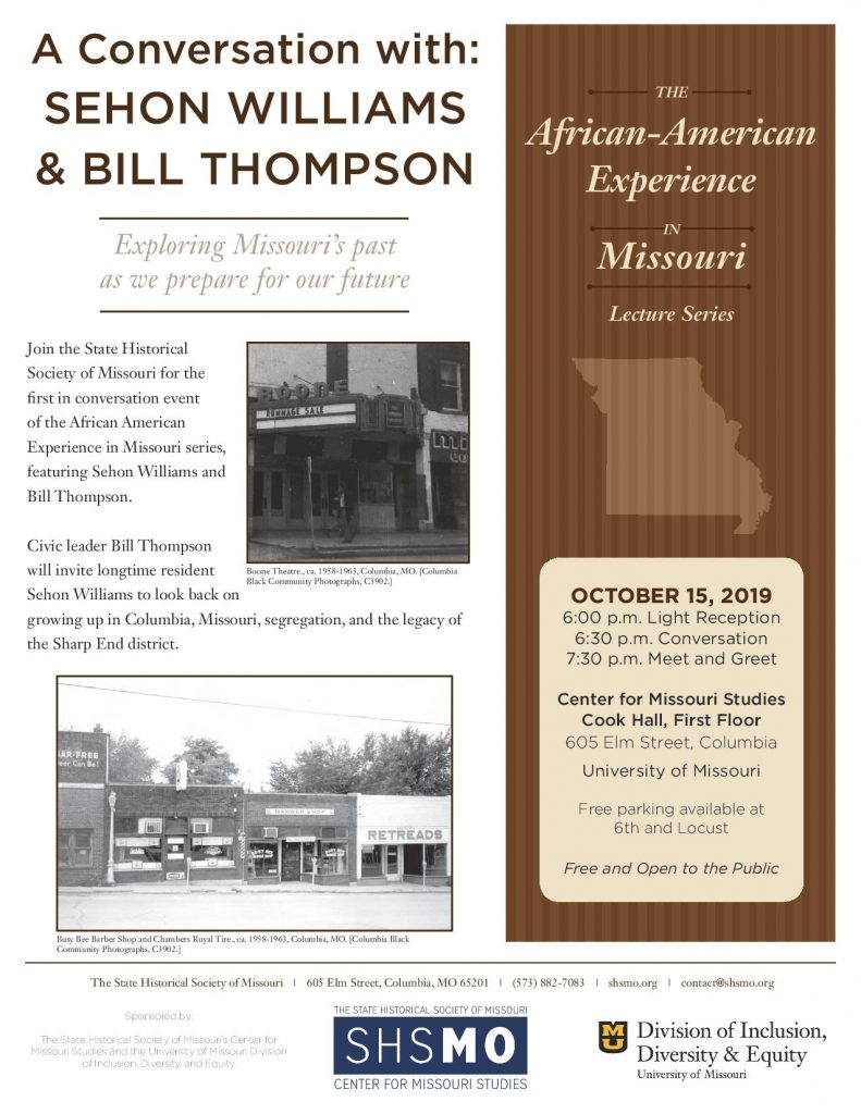 African American Experience in Missouri: A Conversation with Sehon Williams and Bill Thompson - TONIGHT Tuesday 10.15.2019 - Center for Missouri Studies - 6-8:30pm @ Center for Missouri Studies - Cook Hall (1st floor) | Columbia | Missouri | United States