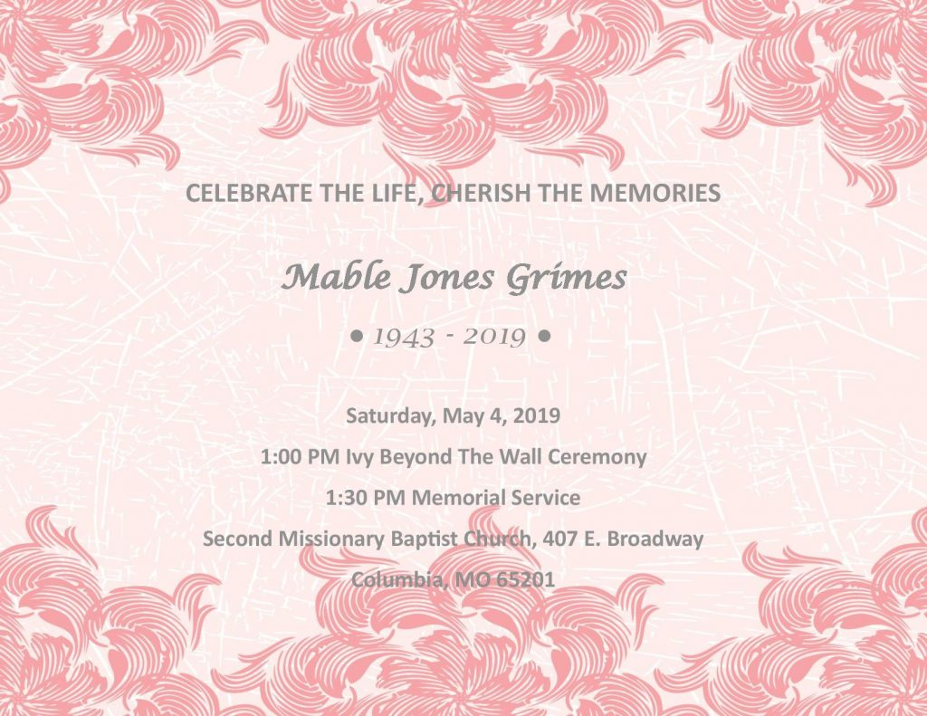 Memorial Service for Dr. Mable Grimes - Saturday 5.4.2019 - Second Baptist Church - 1pm @ Second Missionary Baptist Church | Columbia | Missouri | United States
