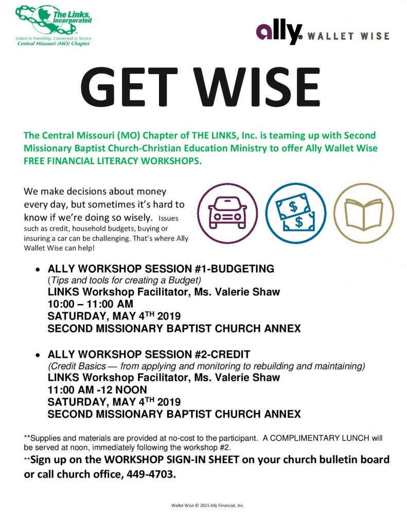 Ally Wallet-Wise Financial Workshops - Saturday 5.4.2019 - Second Baptist Church - 10am-Noon @ Second Missionary Baptist Church | Columbia | Missouri | United States