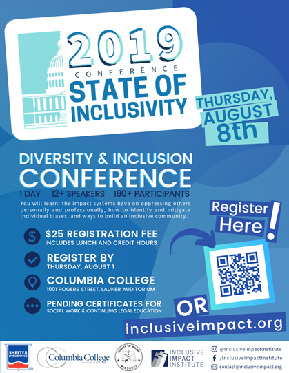 2019 Conference State of Inclusivity - Thursday 8.8.2019 - Columbia College - 8am-5pm @ Columbia College | Columbia | Missouri | United States