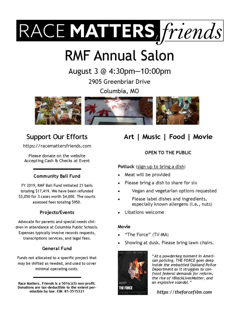 Race Matters, Friends (RMF) Annual Salon - Saturday 8.3.2019 - 2905 Greenbriar Terrace - 4:30-10pm @ Columbia | Missouri | United States