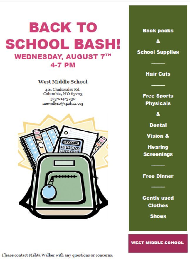 Back-to-School Bash! - Wednesday 8.7.2019 - West Middle School - 4-7pm @ West Middle School | Columbia | Missouri | United States
