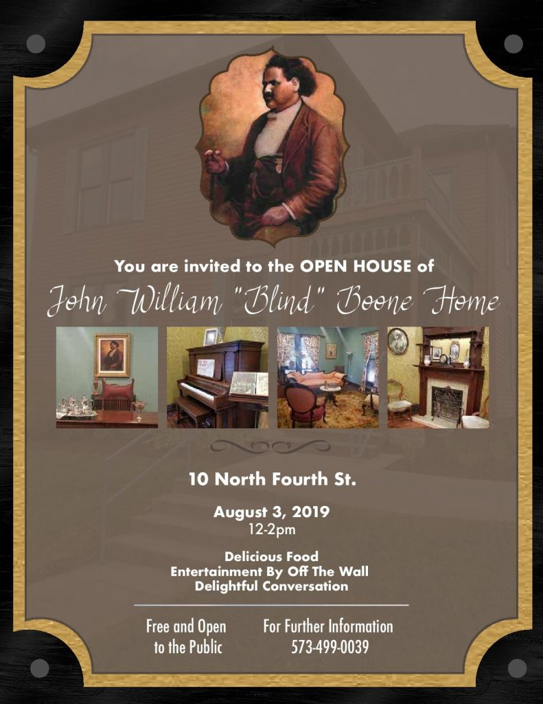 Blind Boone Open House - Saturday 8.3.2019 - 10 N. Fourth Street - 12-2pm @ Historic Blind Boone Home | Columbia | Missouri | United States