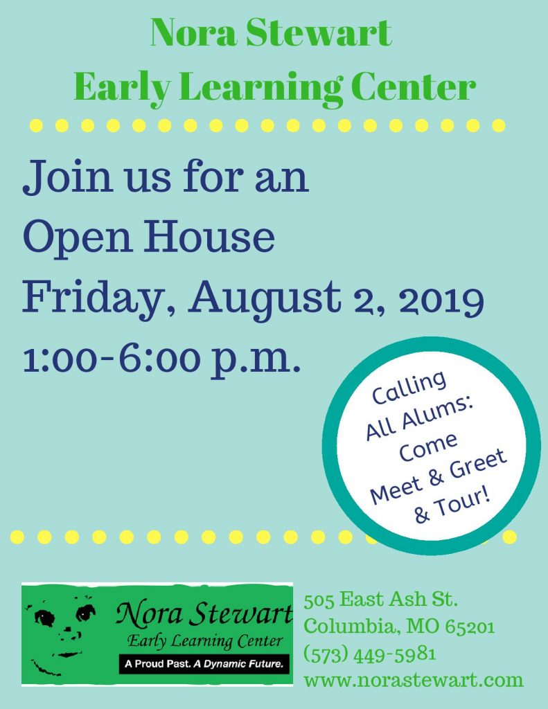 Nora Stewart Early Learning Center OPEN HOUSE - Friday 8.2.2019 - 1-6 pm @ Nora Stewart Early Learning Center | Columbia | Missouri | United States