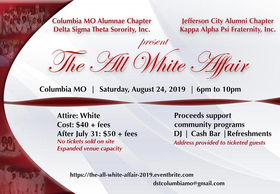 The All White Affair - Saturday 8.24.2019 - Columbia, MO - 6-10pm