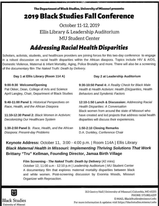 2019 MU Annual Black Studies Fall Conference: Addressing Racial Health Disparities - Friday 10.11 and Saturday 10.12.2019 - MU Campus @ MU Ellis Library and Leadership Auditorium