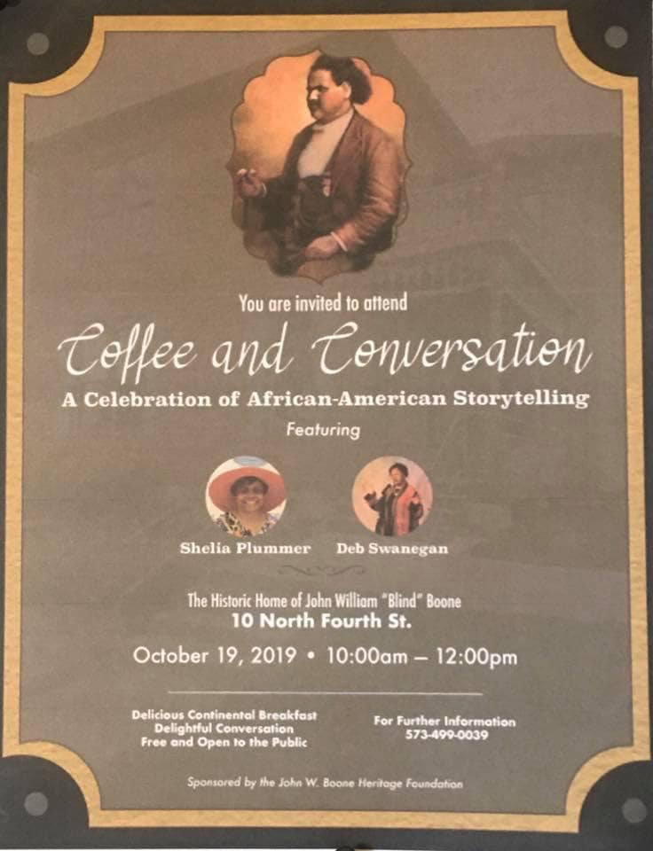 "Coffee and Conversation, A Celebration of African-American Storytelling - Saturday 10.19.2019 - ""Blind"" Boone Home - 10am-12noon @ JW Blind Boone Home 