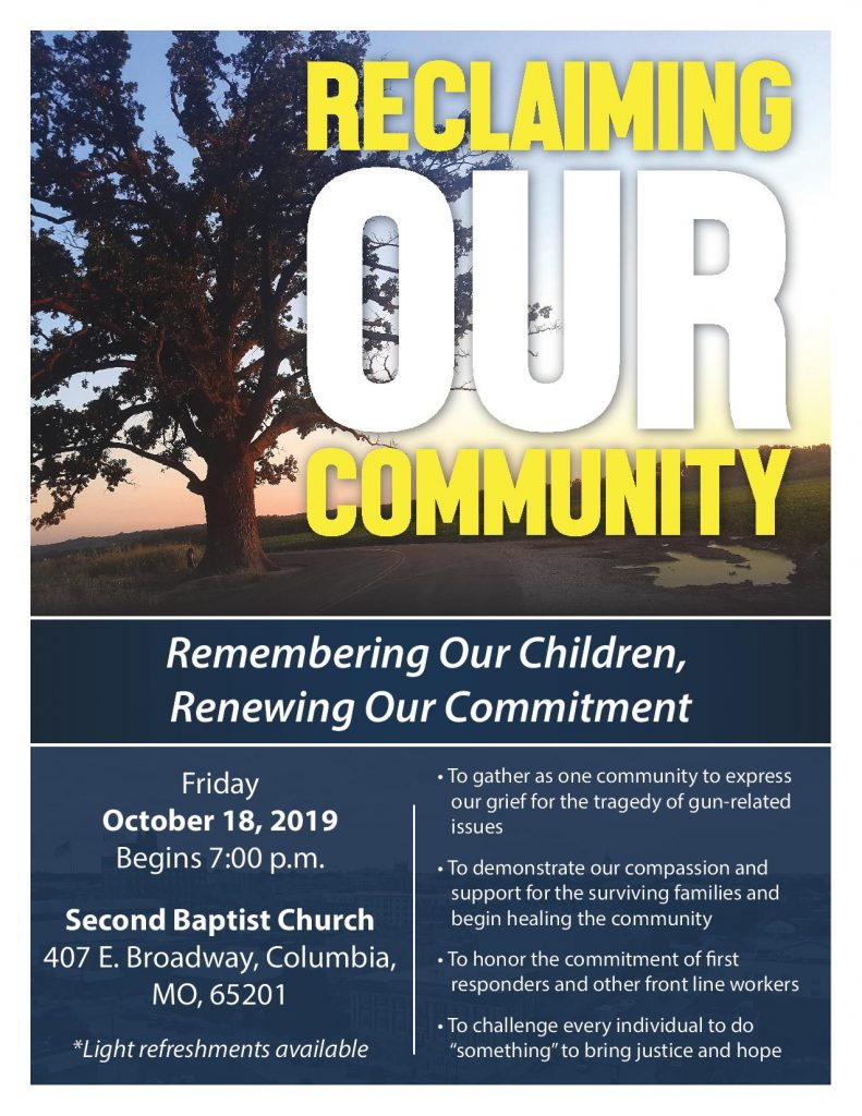 Reclaiming Our Community - Friday 10.18.2019 - Second Baptist Church - 7pm @ 2nd Missionary Baptist Church | Columbia | Missouri | United States
