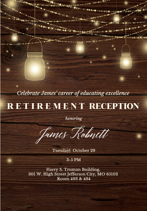 James Figueroa-Robnett, Jr. Retirement Reception - Tuesday 10.29.2019 - Truman Building (Jefferson City) - 3-5pm @ Truman State Building - Rms 493/494 | Jefferson City | Missouri | United States